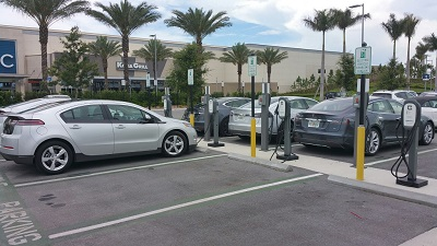 Electric vehicles and chargers at University Town Center