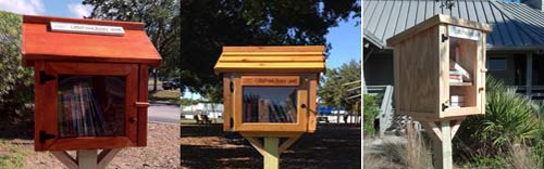 Examples of the Little Free Library boxes (we look like large bird feeders).