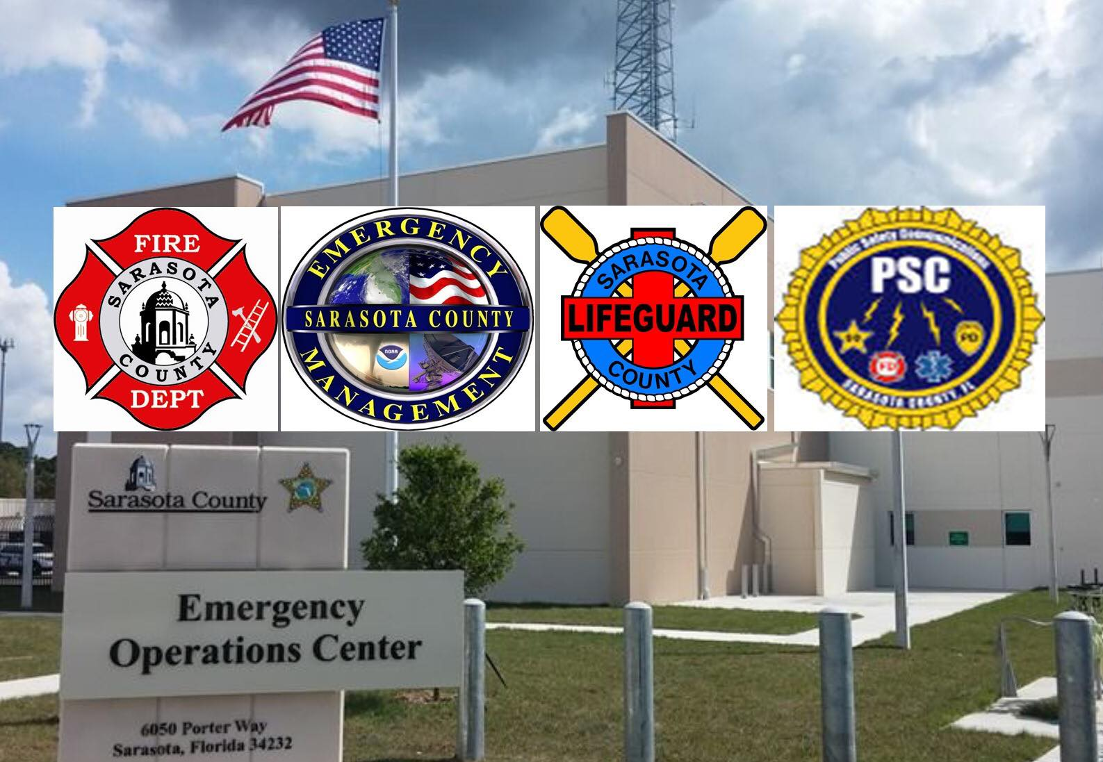Emergency Operations Center for Sarasota County. Front view of the building with Emergency Services logos.