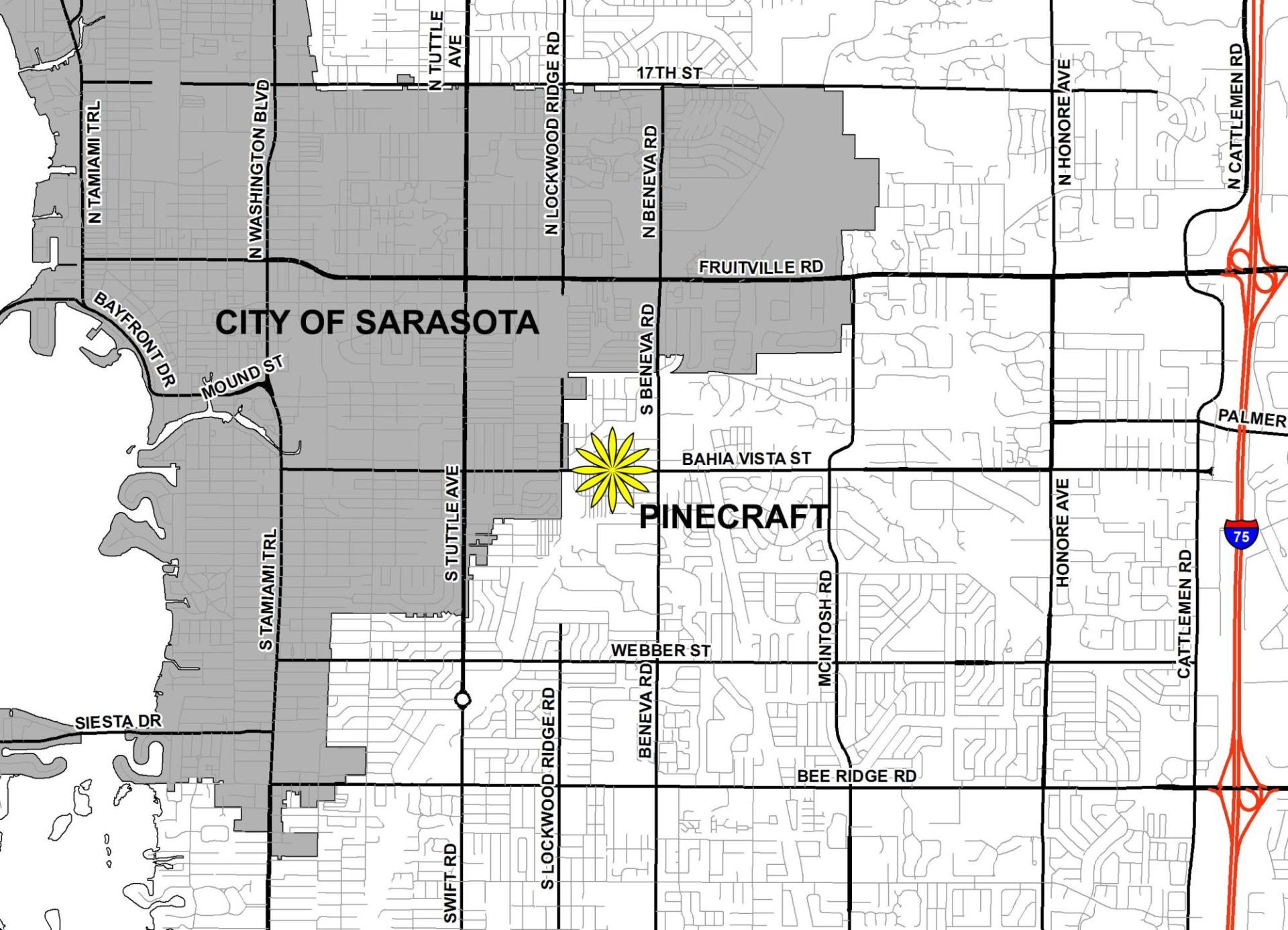 "City map with Pincraft community marked on it with a loction ""star."""