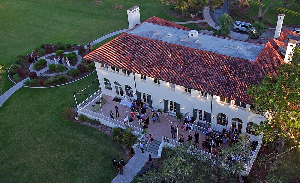 Wedding at Phillippi Estate view from a drone.