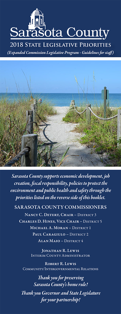 2018 State legislative priorites booklet cover with image of beach with sea oats