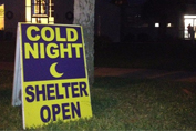 Cold Shelter Opening Sign