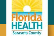 Florida Health Department Sarasota County Logo illustration of asunset over the water
