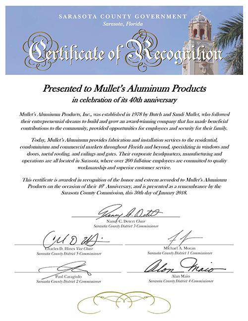 Certificate of Recognition for Mullet's Aluminum 40th Annversary 2018