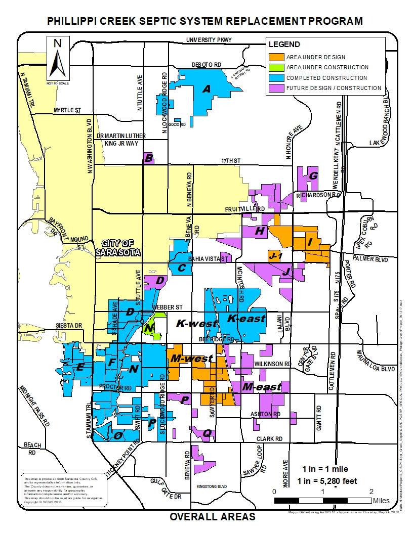Phillippi Creek Septic System Replacement Program map of all areas in the county effected.
