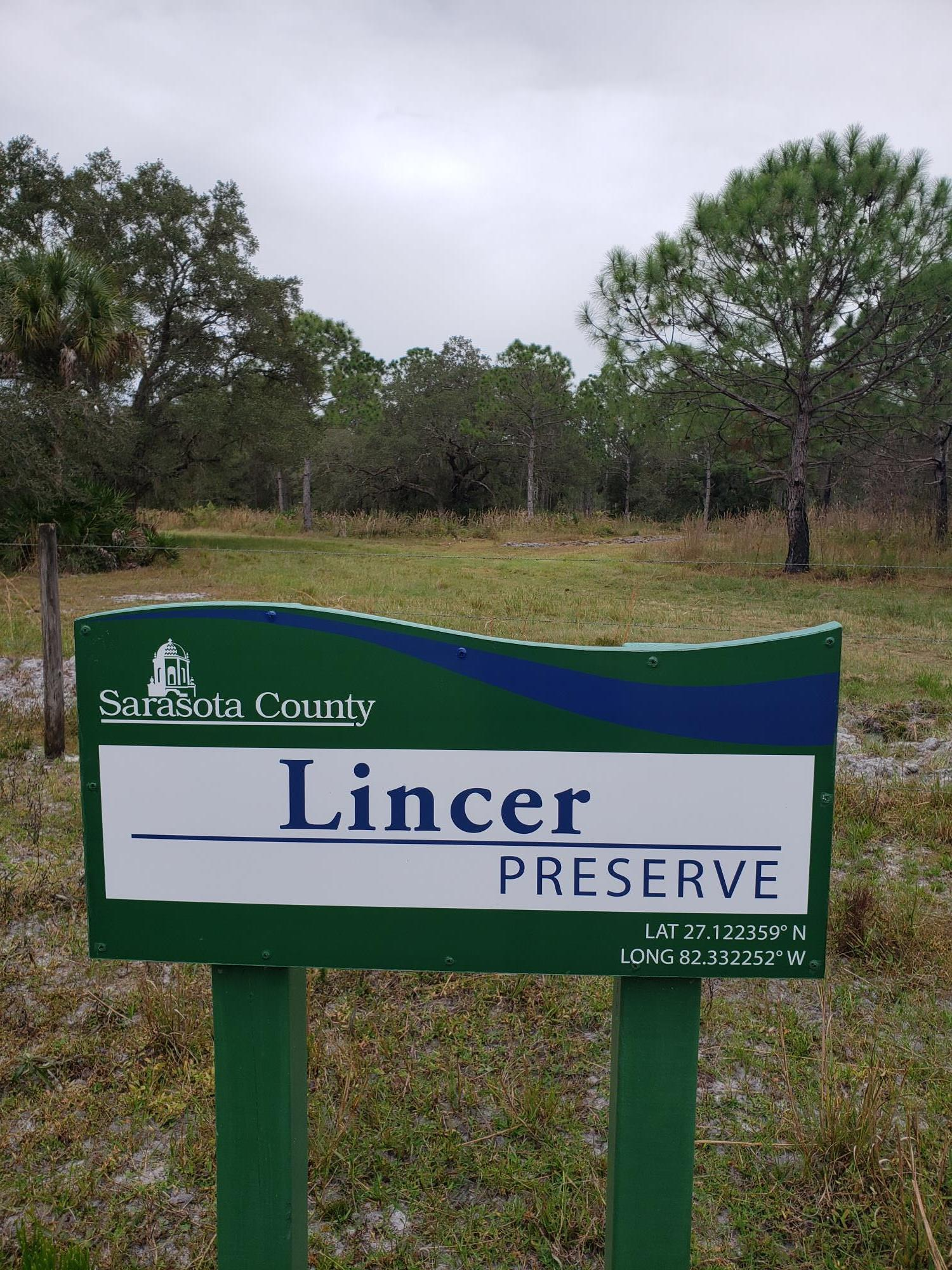 Lincer Preserve entrance sign