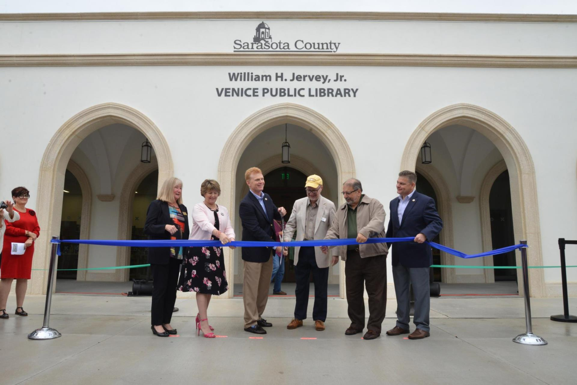 Key leaders cut the ribbon, officially opening the William H. Jervey Jr. Venice Public Library Dec. 15, 2018.