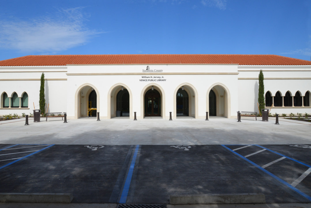 Outside of the William H. Jervey Jr Venice Public Library.