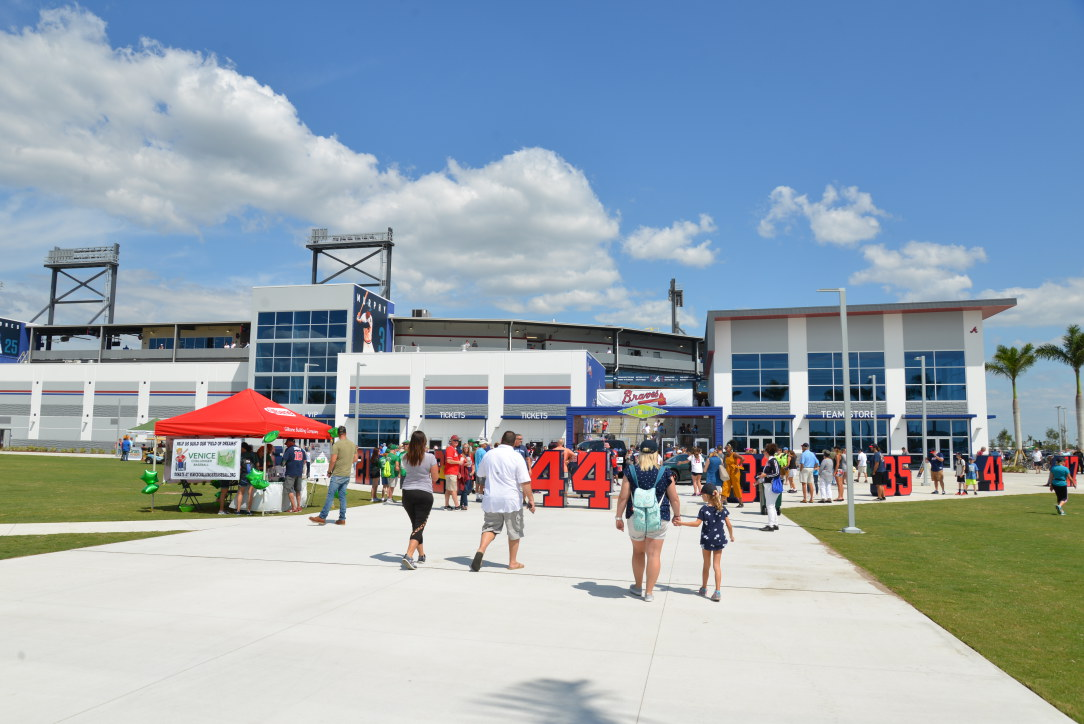 Baseball fans arrive at the CoolToday Park for the Braves first game in their new spring training facility in Sarasota County.