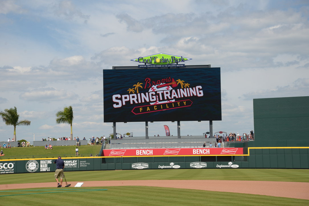 The scoreboard at the new facility is the largest of all spring training game facilities in Florida.