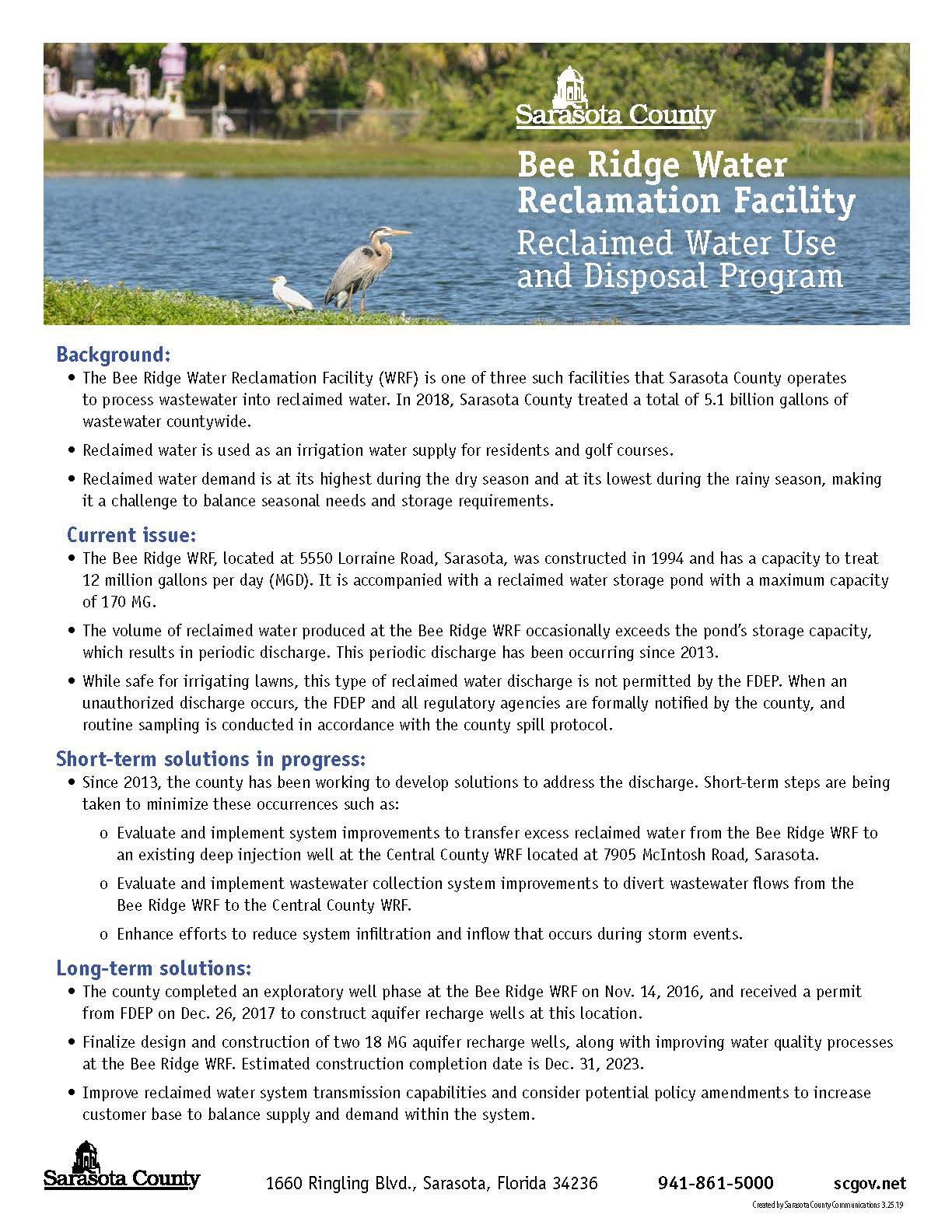 Bee Ridge Water Reclamation Facility Fact Sheet