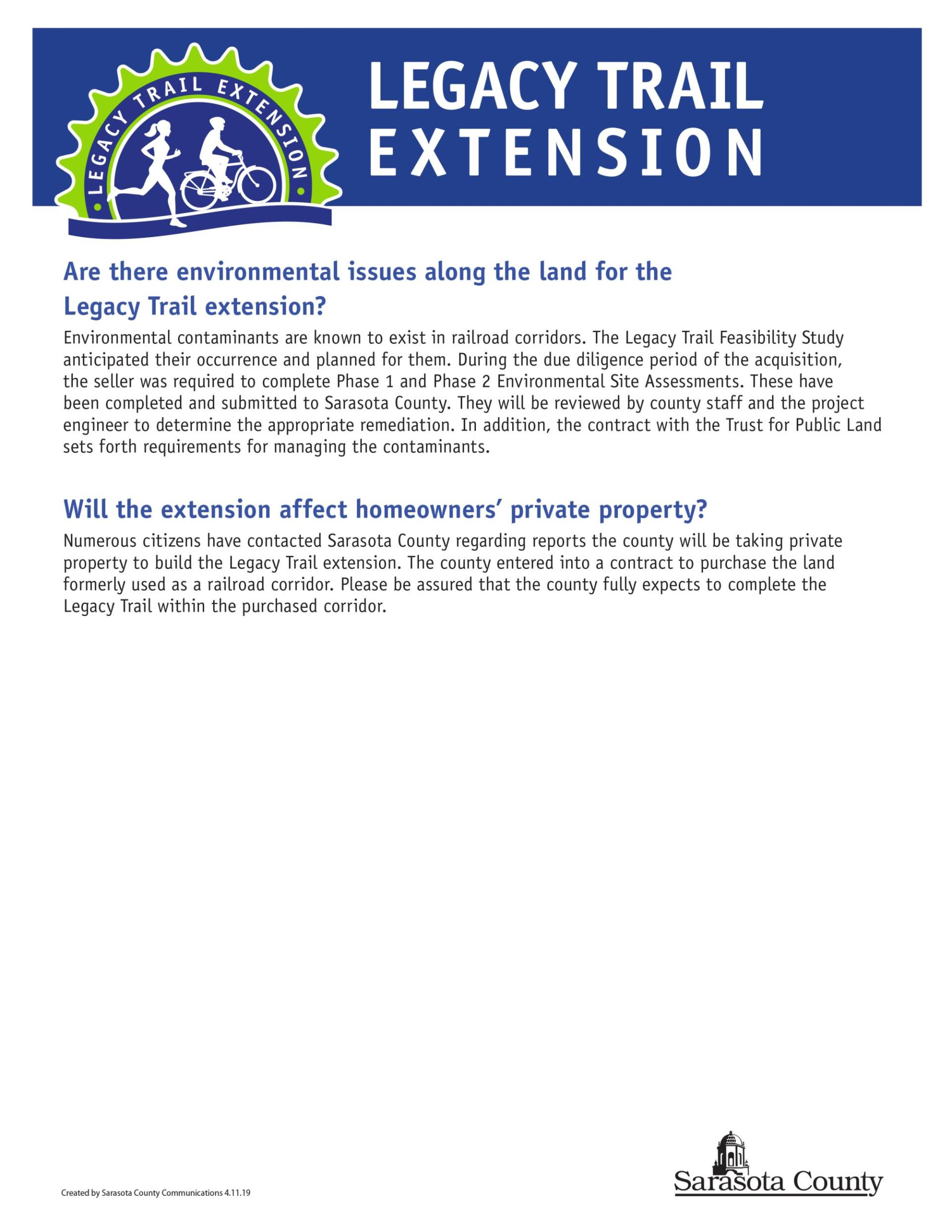 Frequently Asked Questions about the Legacy Trail Extension