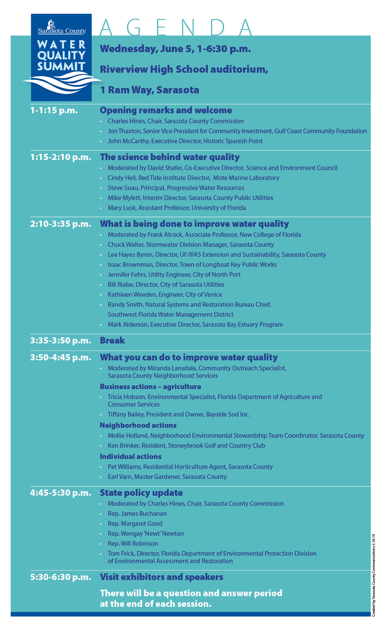 Water Quality Summit Agenda