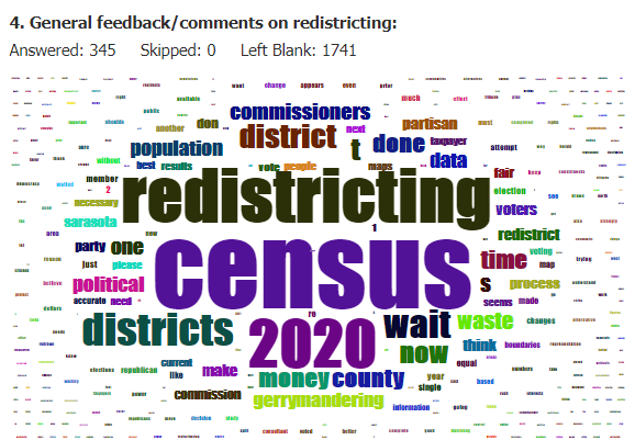 General feedback comments on redistricting WORD CLOUD