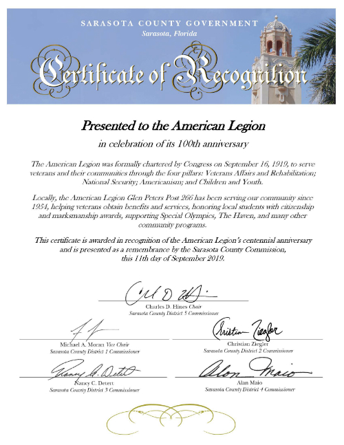 Sample Certificate of Recognition from the Board of County Commission