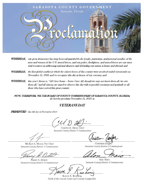 Sample Proclamation from the Board of County Commission
