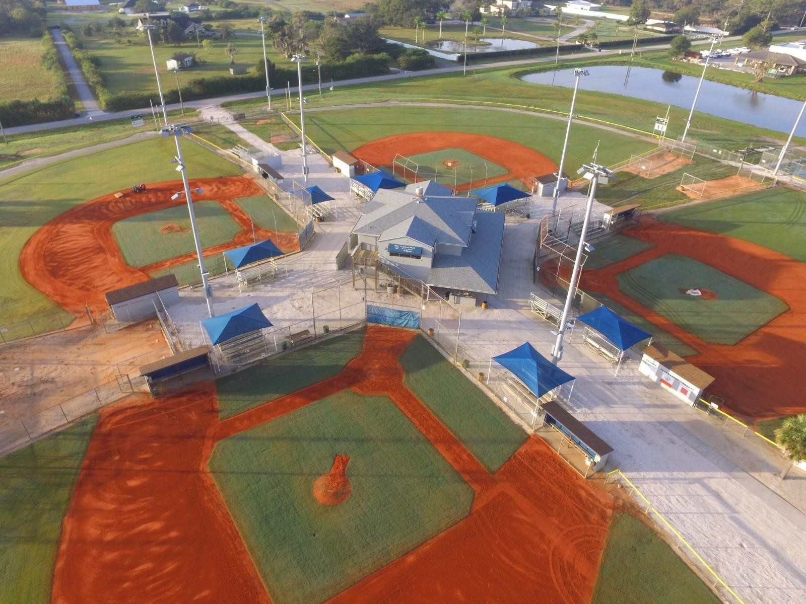 Aerial view of Twin Lakes Park little league fields