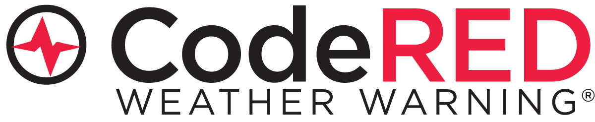 Code Red weather warning logo, sign up to get notifications