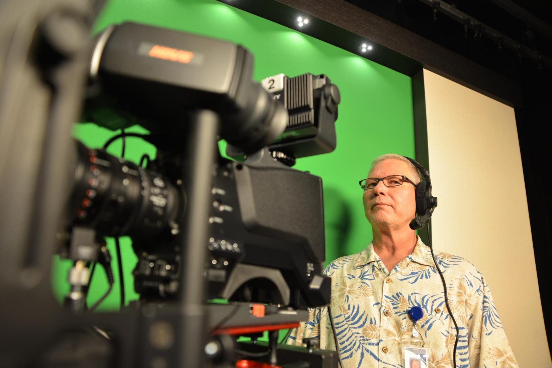 Cameraman in the Access Sarasota studio