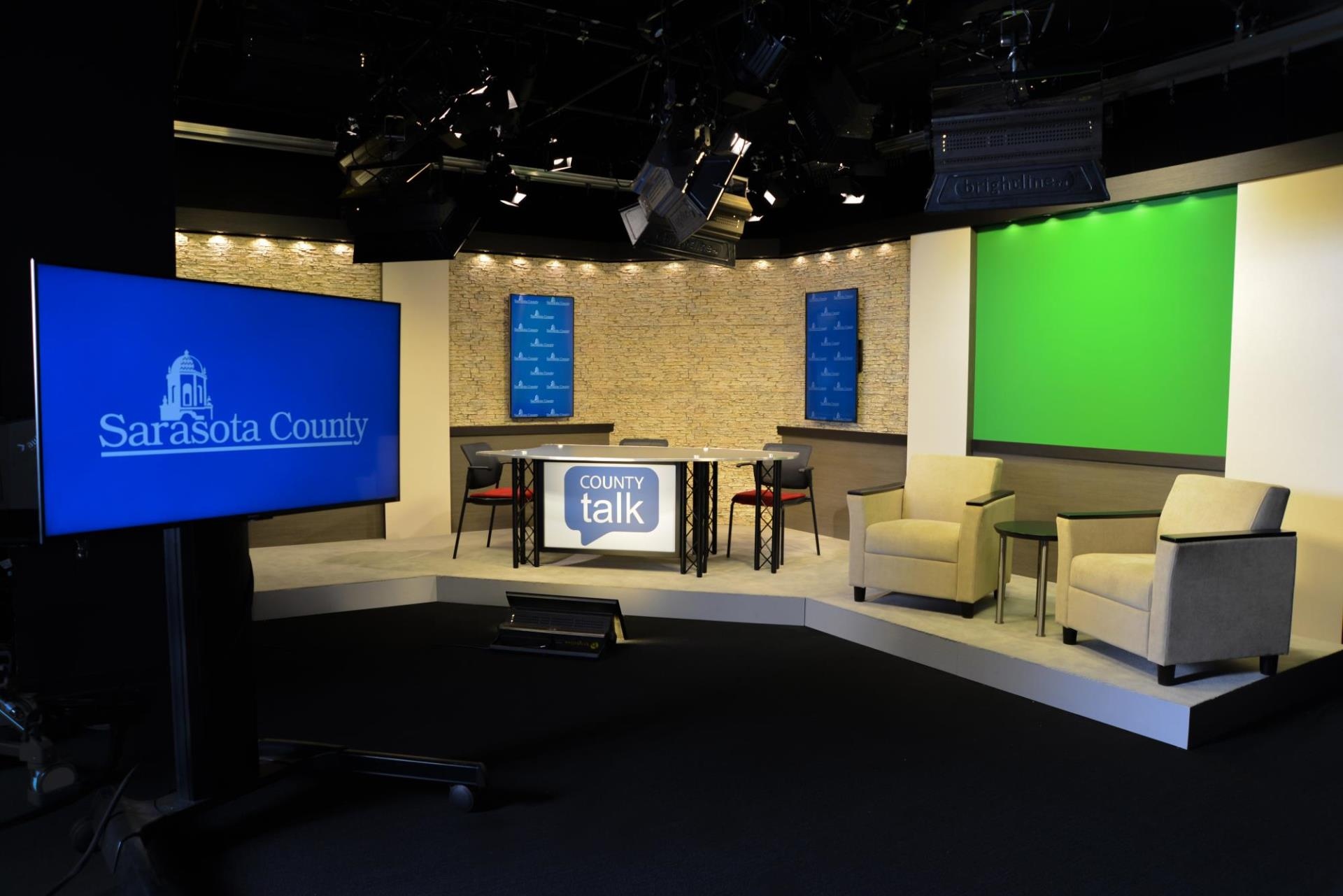 Wide view of the Access Sarasota television studio