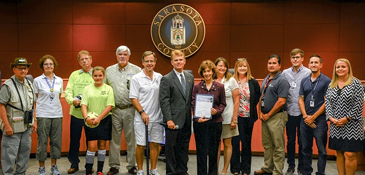 December is Parks and Recreation Month, BCC presenting a Certificate of Recognition to the Parks staff.