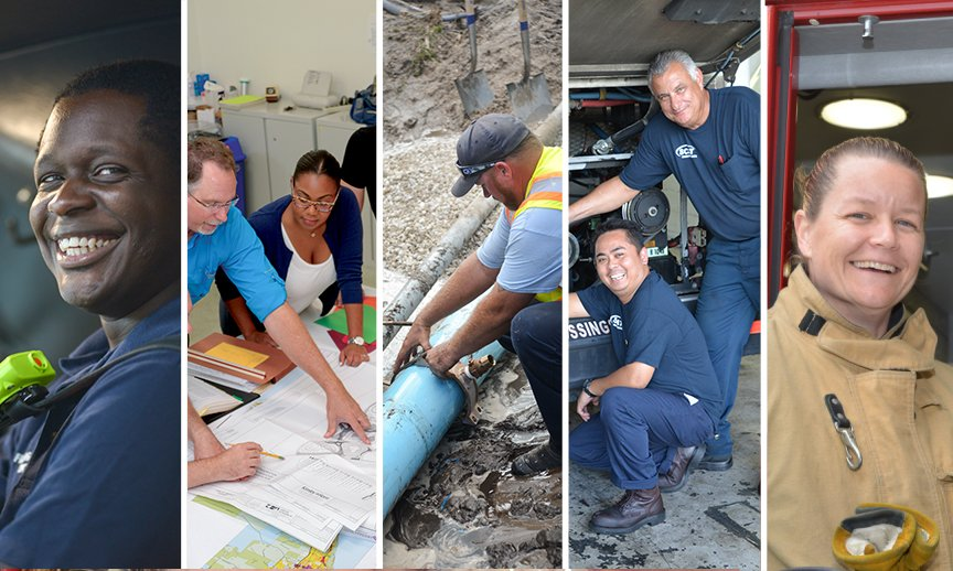 Collage of county employees, SCAT bus driver, planners, sewer worker, SCAT bus service attendants, Firefighter