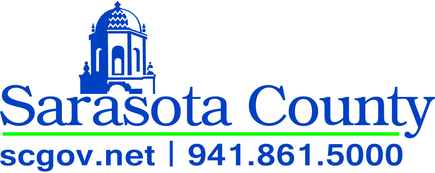 Sarasota County logo with contact information