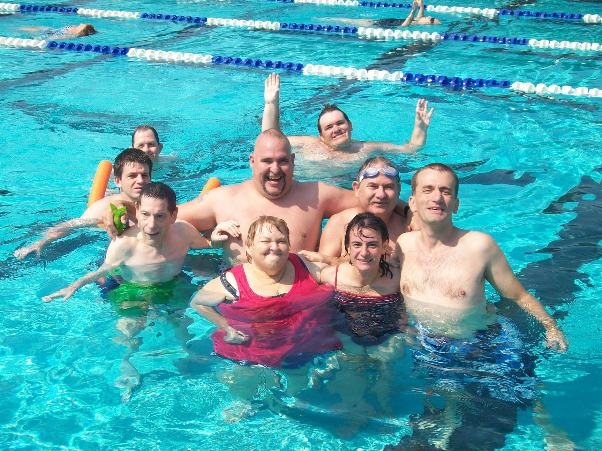 T-Rec participants in the swimming pool