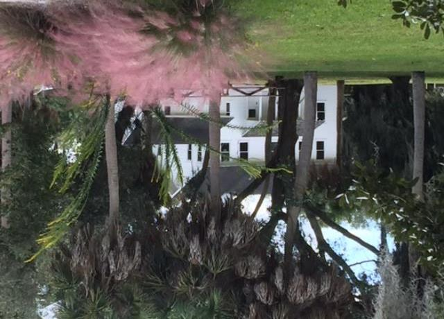 Phillippi Estate Park, view of the historic farmhouse with pink grasses in the foreground
